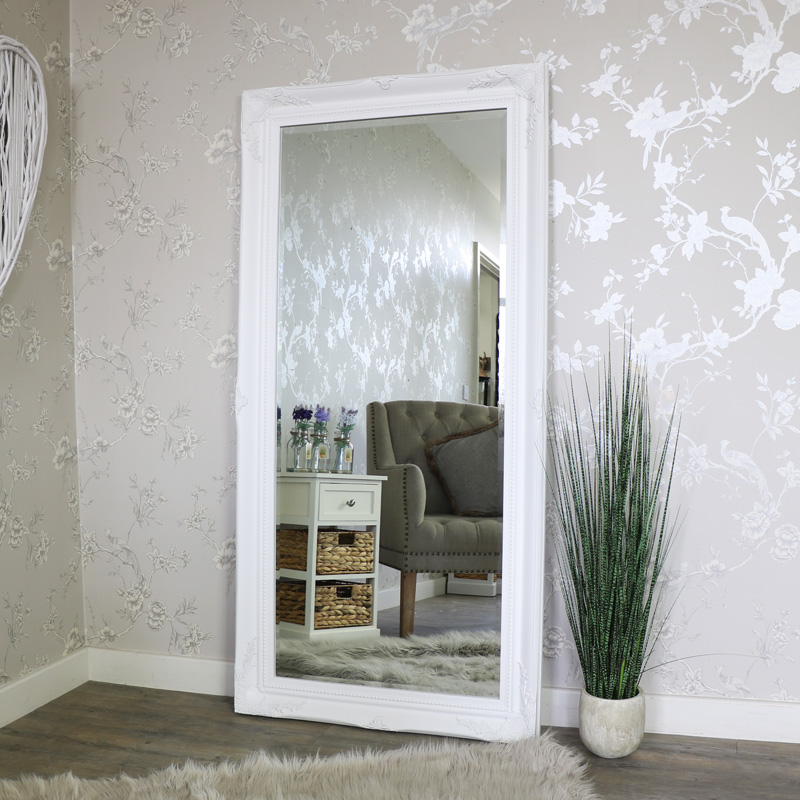 Extra Large White Ornate WallFloor Mirror Melody Maison