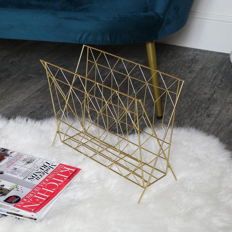 gold metal wire magazine rack