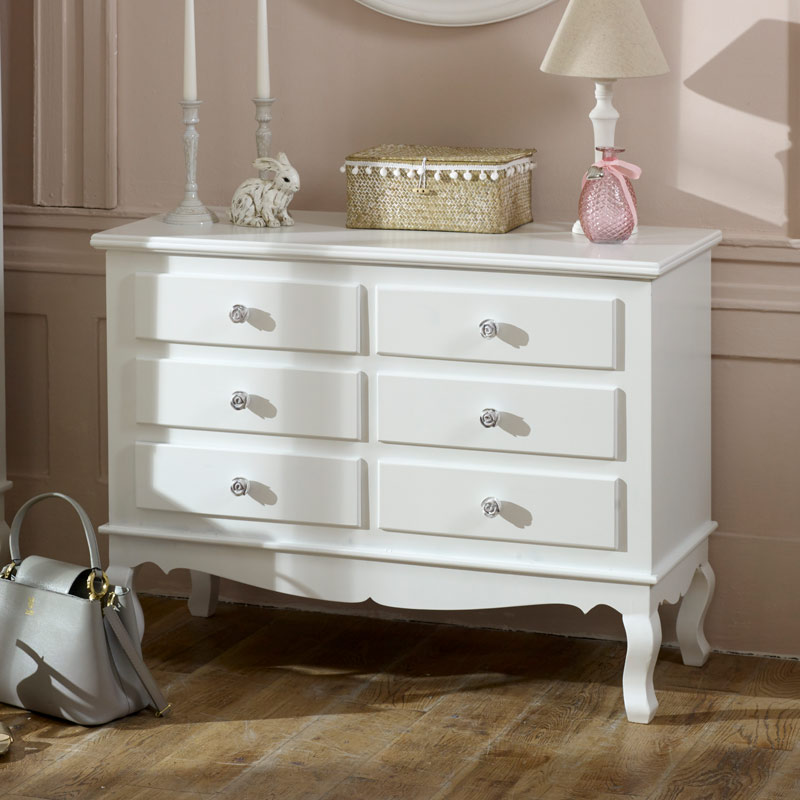 large ornate white 6 drawer chest of drawers lila range