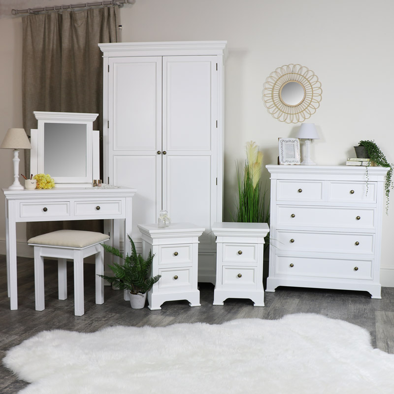 white bedroom furniture double wardrobe chest of drawers dressing table set and pair of bedside chests daventry white range