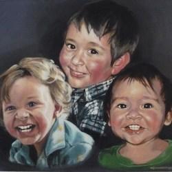 "Adley, Liam and Flynn, 2012, Full Colour Acrylic Painting on Canvas, 14""x16"""