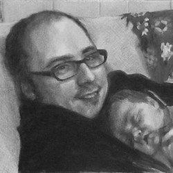 "Chris and Holly, 2014, Father and Daughter Portrait, Graphite Pencil Drawing on Paper, 5""x7"""