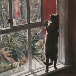 "Leeloo, 2015, Cat at Window Portrait, Full Colour Acrylic Paint on Canvas, 12""x12"""
