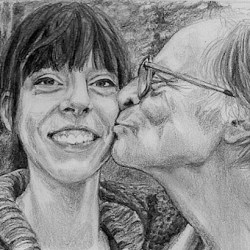 """Melody and Justin, 2009, Father and Daughter Portrait, Graphite Pencil Drawing on Paper, 5""""x7"""""""
