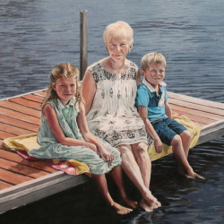 """Jillie, Nora and Tom, 2015, Family Group Portrait on Lake Dock, Full Colour Acrylic Painting on Canvas, 20""""x26"""""""