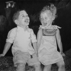"""Blake and Drew, 2015, Siblings Group Portrait, Graphite Pencil Drawing on Paper, 18""""x24"""""""
