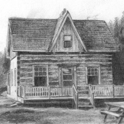 "Rob's Log House, 2011, Graphite Pencil Drawing on Paper, 4""x6"""