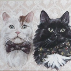 "Simon, Norman and Barnaby, 2012, Cats in Bowties Portrait, Acrylic Painting on Canvas, 12""x20"""