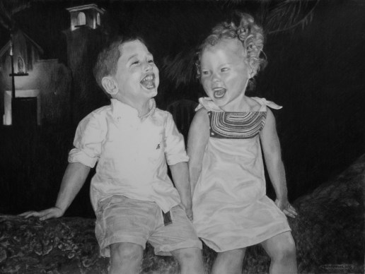 "Blake and Drew, 2015, Siblings Group Portrait, Graphite Pencil Drawing on Paper, 18""x24"""