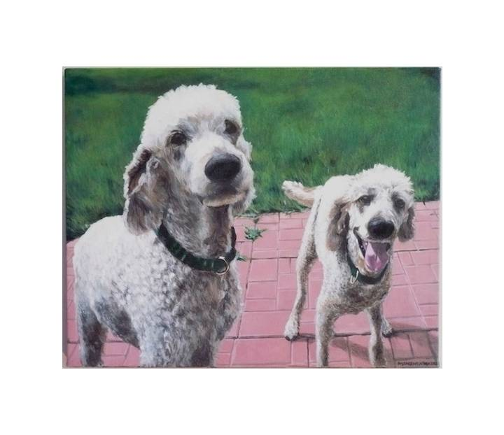 "Alfie and Talie, 2012, Full Colour Acrylic Painting on Canvas, 16"" x 20"""