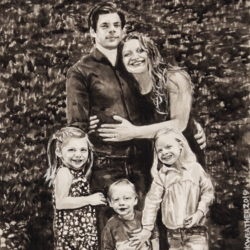 """Will, Claire, Evelyn, Fred & Mary Ann, 2019, Ink Painting on Paper, 8"""" x 10"""""""