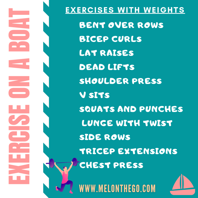 Exercise on a boat with weights