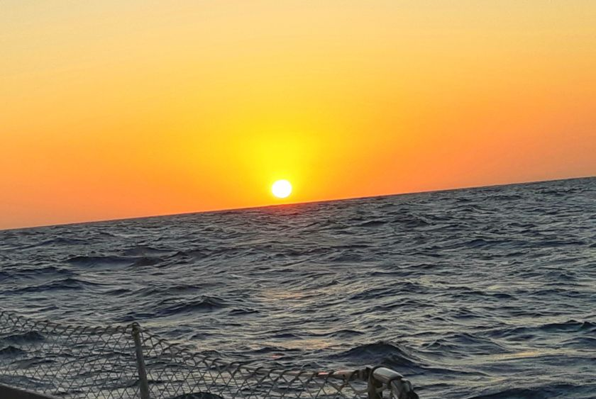 Sunset on our second night sailing to Colombia