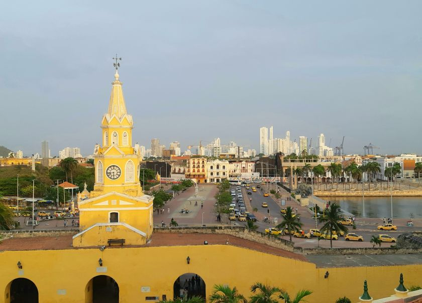 Old and new in Cartagena Colombia
