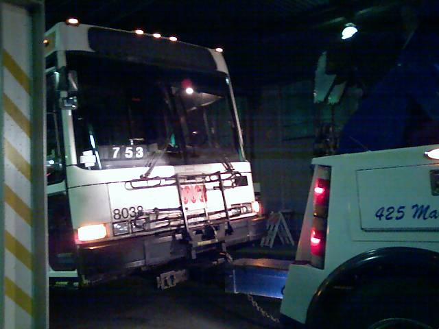 bus being towed