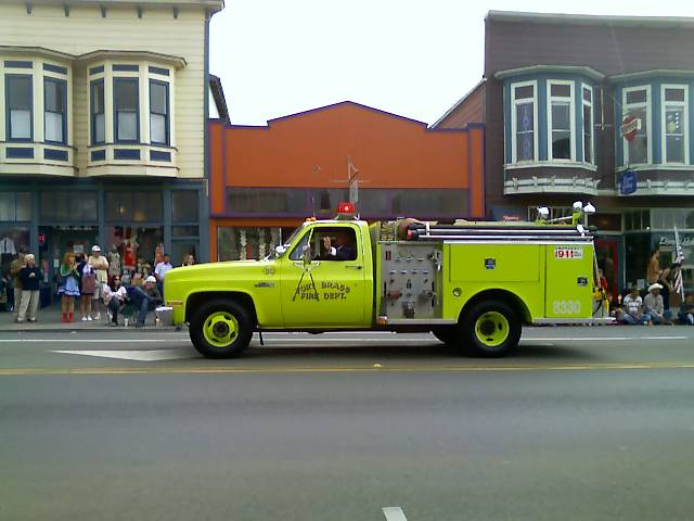 lime green fort bragg fire truck