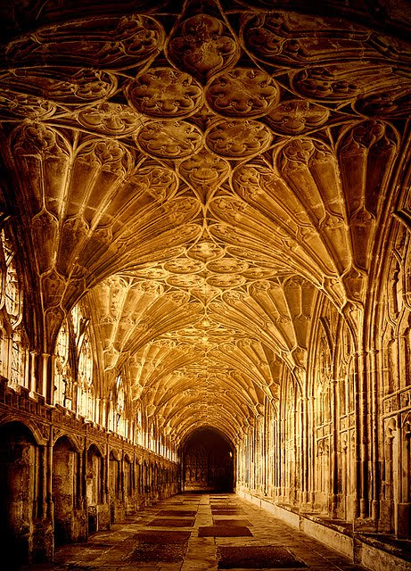 Sunlight, The Cloisters, Gloucester, England