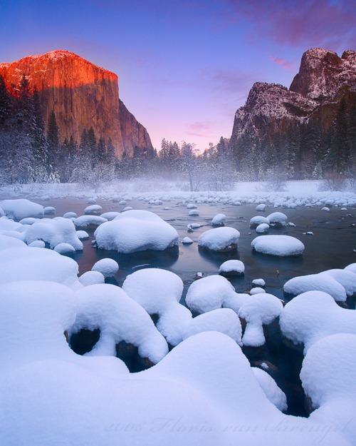 Snow Sunrise, Yosemite, California