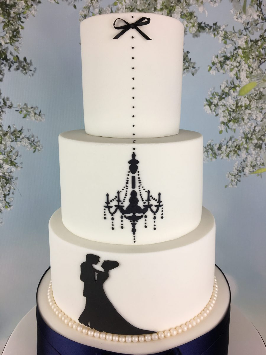 Navy Blue And White Silhouette Wedding Cake Mels