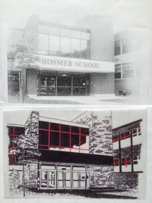 Original photo and intermediate line drawing of the front entrance of the Hosmer Elementary School