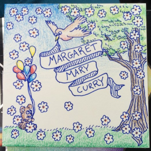 pen and colored pencil drawing of a bird holding a banner, a tree, and a bear with balloons