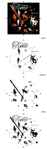 final image and color separations for a dance show design: it's about time with clock face, dancers