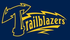 trailblazers softball logo with text and lightning bolts