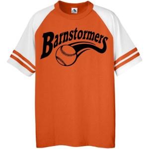 barnstormers softball logo with softball and tail