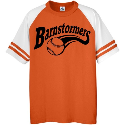 barnstormers softball logo with softball and tail