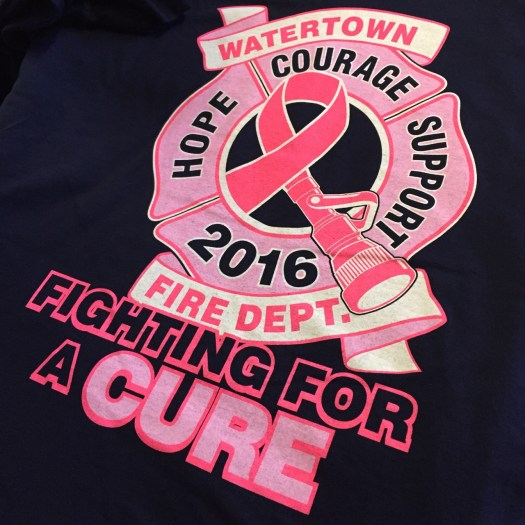 Printed t-shirt: Fire Hose Pink Ribbon logo in fire maltese cross, with banners