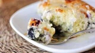 Blueberry Coconut Cake with Lemon Sauce