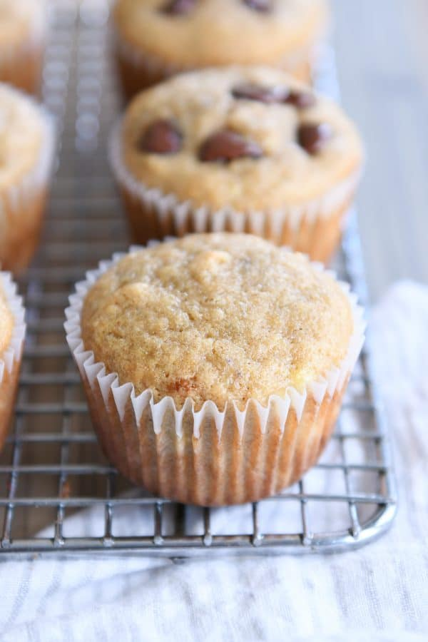 the best banana muffins cooling on wire rack