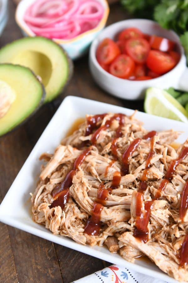 shredded pork drizzled with bbq sauce
