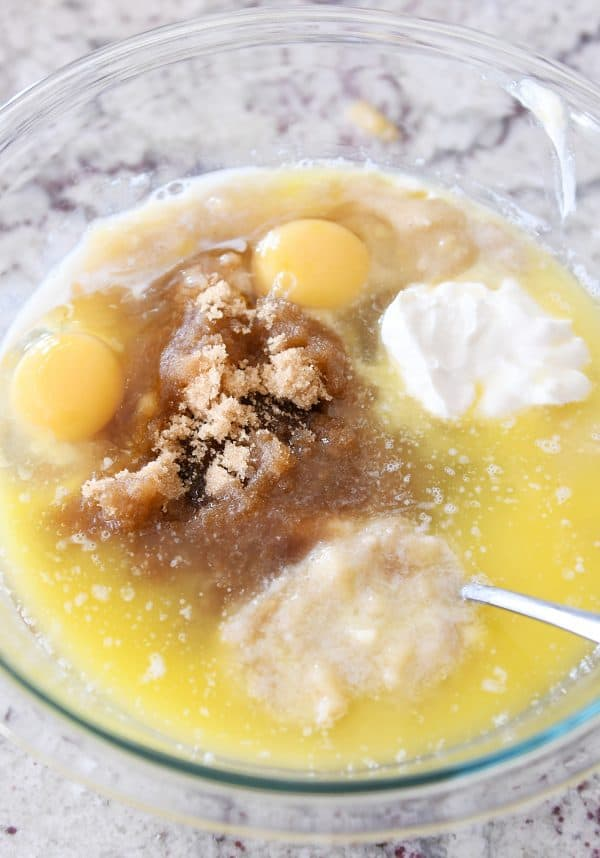 bowl of wet ingredients for the best banana muffins
