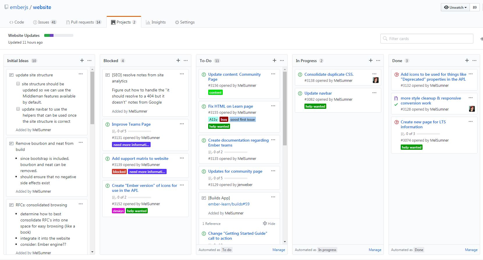 Screenshot of github project. there are four columns- inbox, to-do, in-progress and done - that track multiple issues.