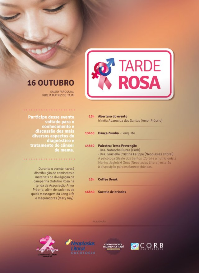 Tarde Rosa acontece em Itajaí na quinta-feira (16). Imagem: Divulgação