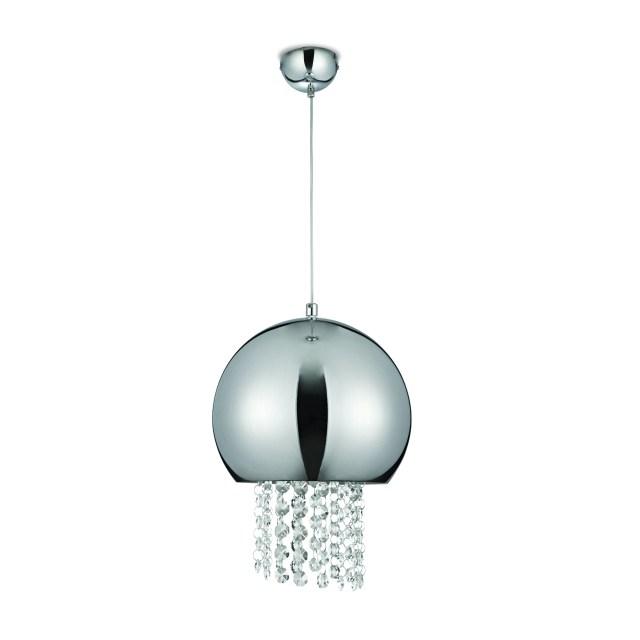 Pendente 1XE27, com cúpula de aço cromado, da Blumenau Iluminação. Imagem: Divulgação