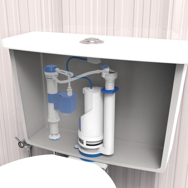 O mecanismo de saída para bacia sanitária com caixa acoplada, da Blukit, reduz pela metade a quantidade da água utilizada nas descargas. Imagem: Divulgação