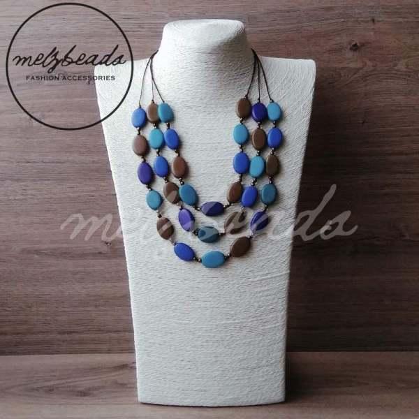 Multi-Shade Blue Mocha Layered Waterfall Necklace
