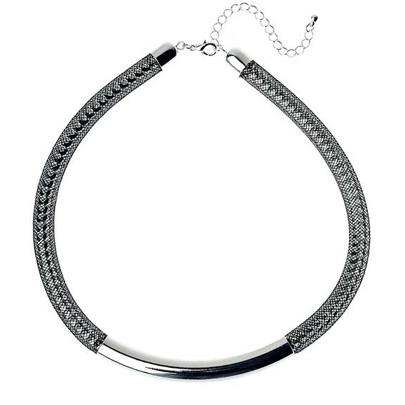 Silver Mesh Chain Necklace Choker with Shiny Bar Detail