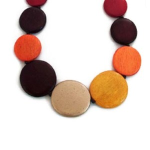 multi coloured round wooden necklace