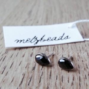 Sterling Silver Black Agate Droplet Stud Earrings