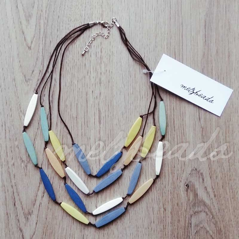 Pastel Multi Layered Tropical Wooden Necklace