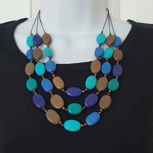 Multi-Shade Blue Layered Waterfall Necklace
