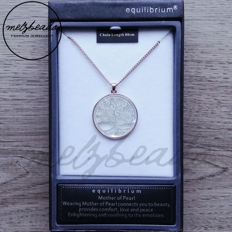 Equilibrium Mother of Pearl Rose Gold Tree of Life Long Necklace
