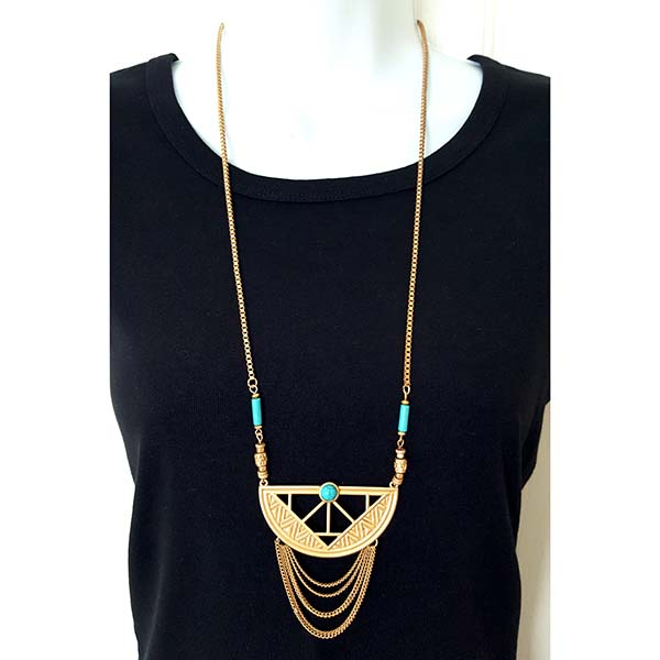 Long Rope Gold Necklace with Turquoise Semi Precious Stones