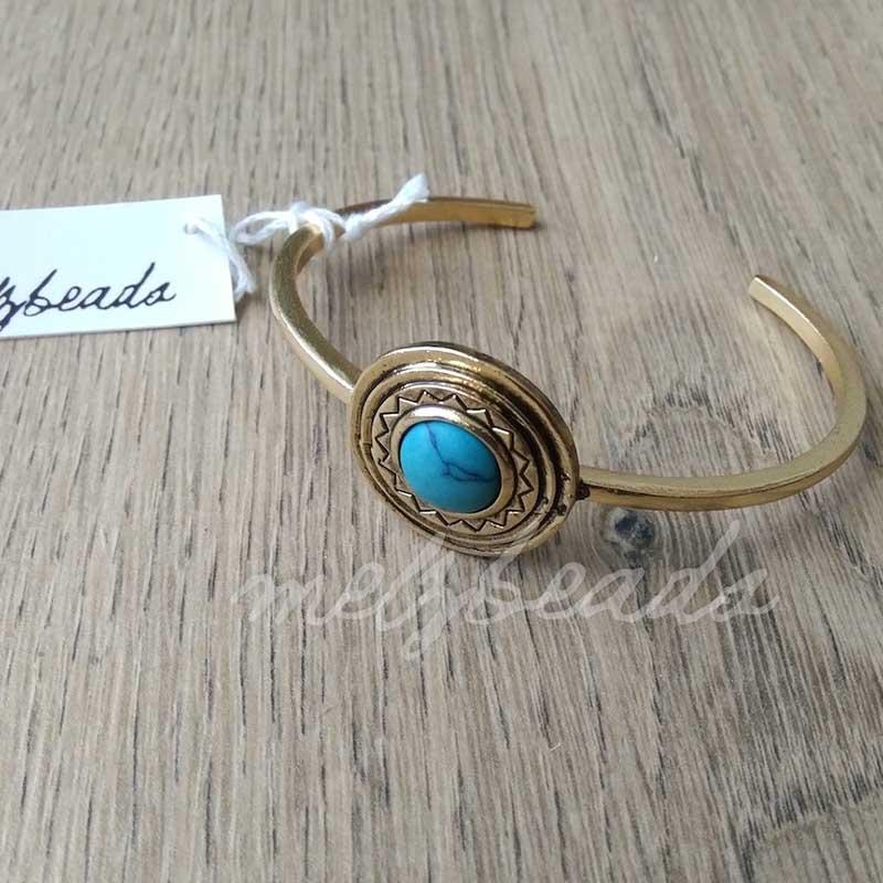 Turquoise Stone Vintage Gold Cuff Bracelet
