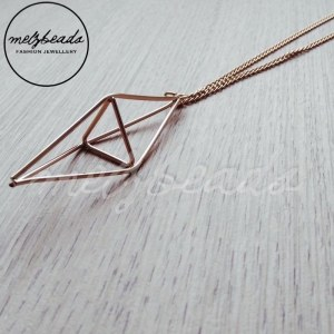 Gold 3D Pyramid Geometric Triangle Shaped Necklace