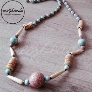 long blue and brown wooden necklace