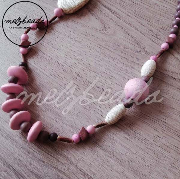 Pastel Pink Earthy Tone Long Wooden Bead Necklace